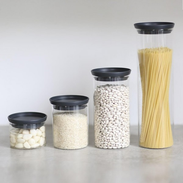 BARATTOLI STACKABLE GLASS JAR, IN VETRO BOROSILICATO - DARK GREY