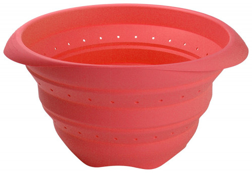 Lékué - Scolapasta pieghevole in silicone 23 cm, colore Rosso