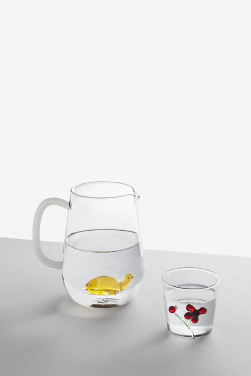 Alessandra-Baldereschi_Animal-farm-Brocca-pesciolino-colorato-e-Tumbler-Greenwood-bicchiere